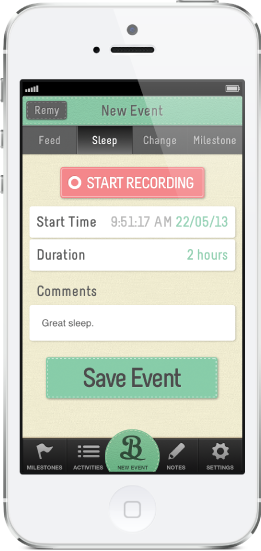 Track changes in sleep using the baby tracker