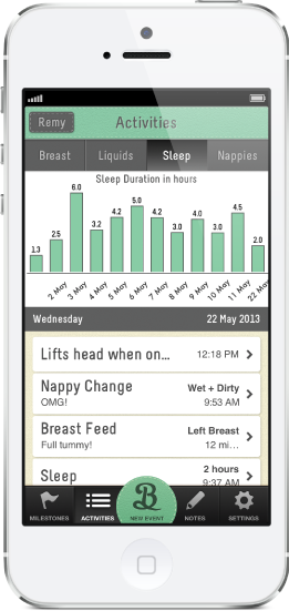 Track Trends in the iPhone Baby App